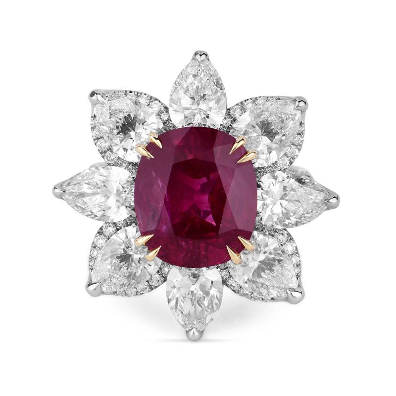 Natural Red Ruby Ring, 6.18 Ct. (12.44 Ct. TW), Gubelin Lab (HK) Certified, JCRG05388863, Unheated