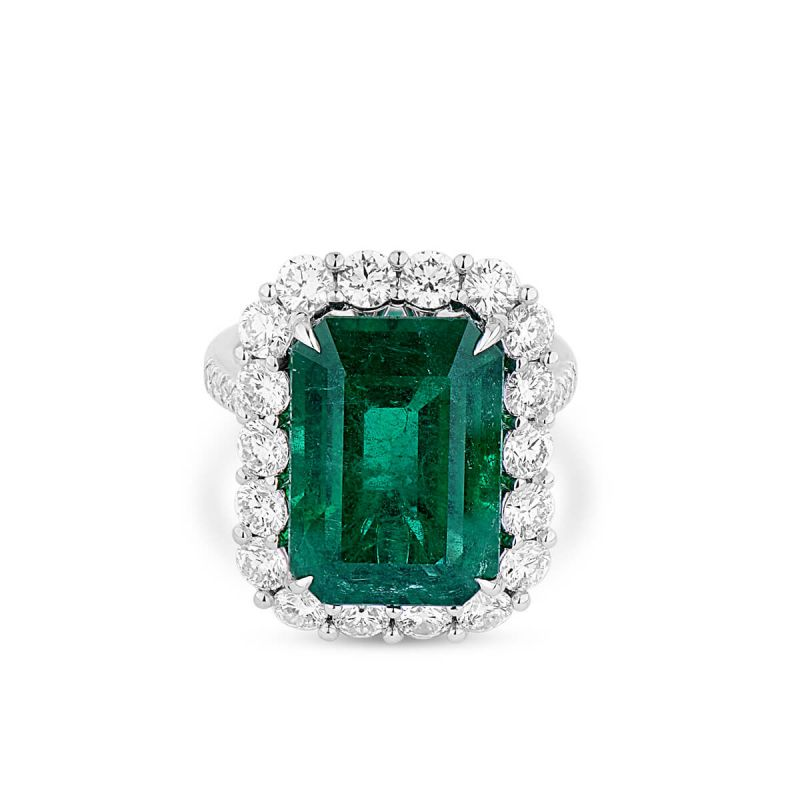 Natural Vivid Green Emerald Ring, 11.04 Ct. (13.25 Ct. TW), GRS Certified, GRS2018-078132, Unheated