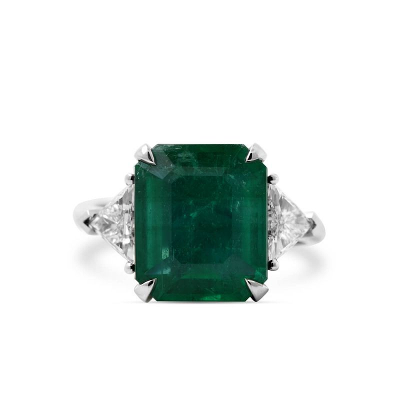 Natural Green Emerald Ring, 6.04 Ct. (6.74 Ct. TW), GRS Certified, GRS2018-078135, Unheated