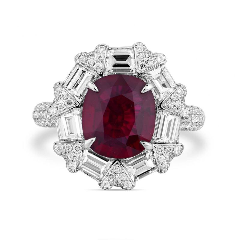 Natural Red Ruby Ring, 2.46 Ct. (4.60 Ct. TW), GRS Certified, GRS2018-078315, Unheated