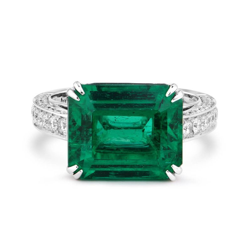 Natural Green Emerald Ring, 6.34 Ct. (7.29 Ct. TW), Unheated