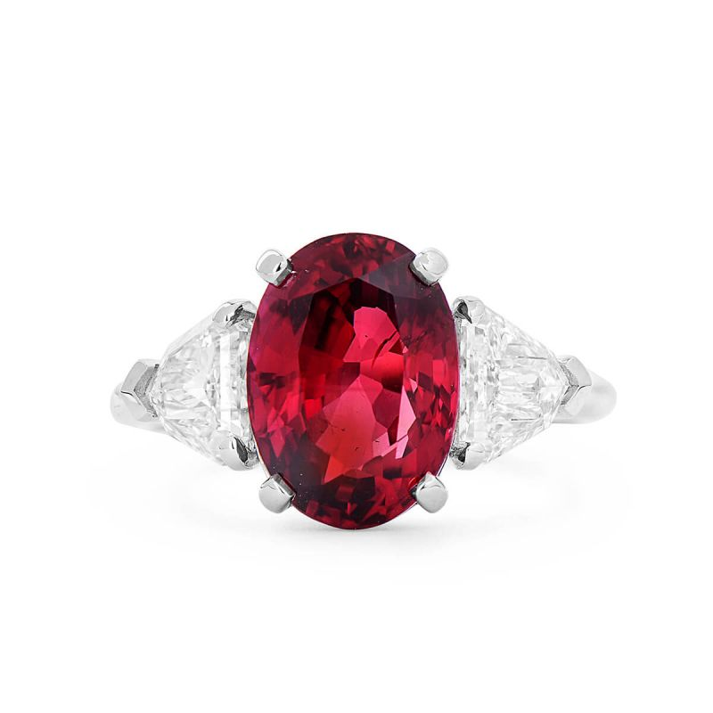 Natural Vivid Red Ruby Ring, 4.78 Ct. (5.73 Ct. TW), GRS Certified, GRS2017-034654, Unheated