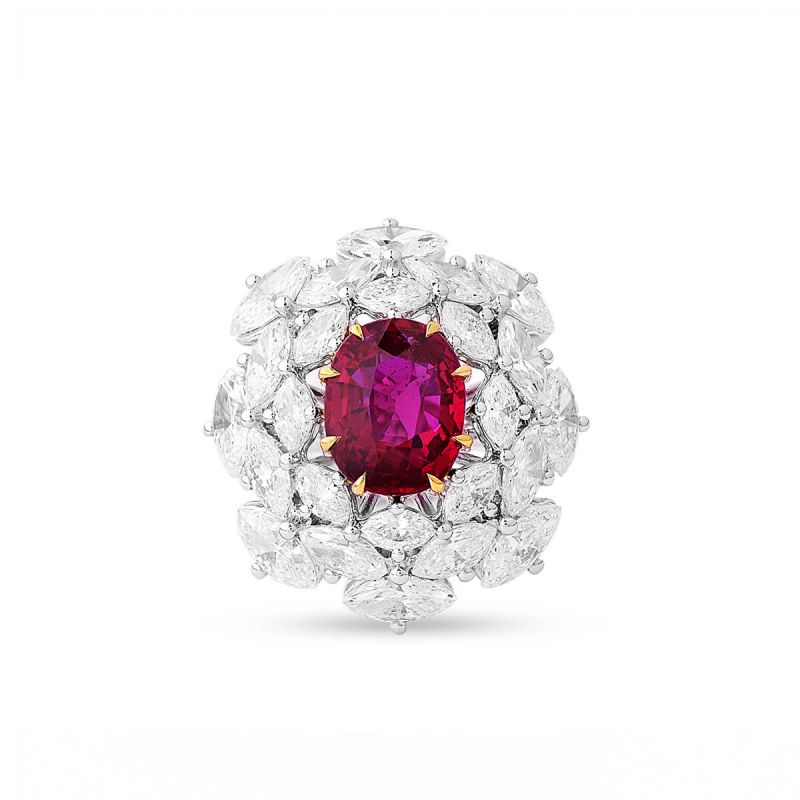 Natural Vivid Red Ruby Ring, 3.01 Ct. (7.70 Ct. TW), GRS Certified, GRS2018-078121, Unheated