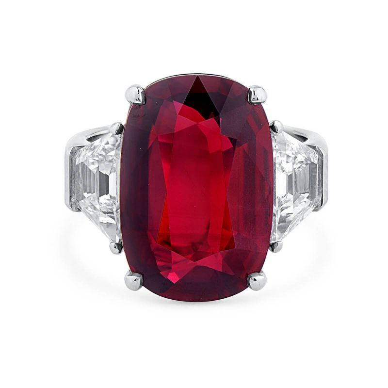 Natural Vivid Red Ruby Ring, 10.10 Ct. (11.94 Ct. TW), GRS Certified, GRS2016-060583, Unheated
