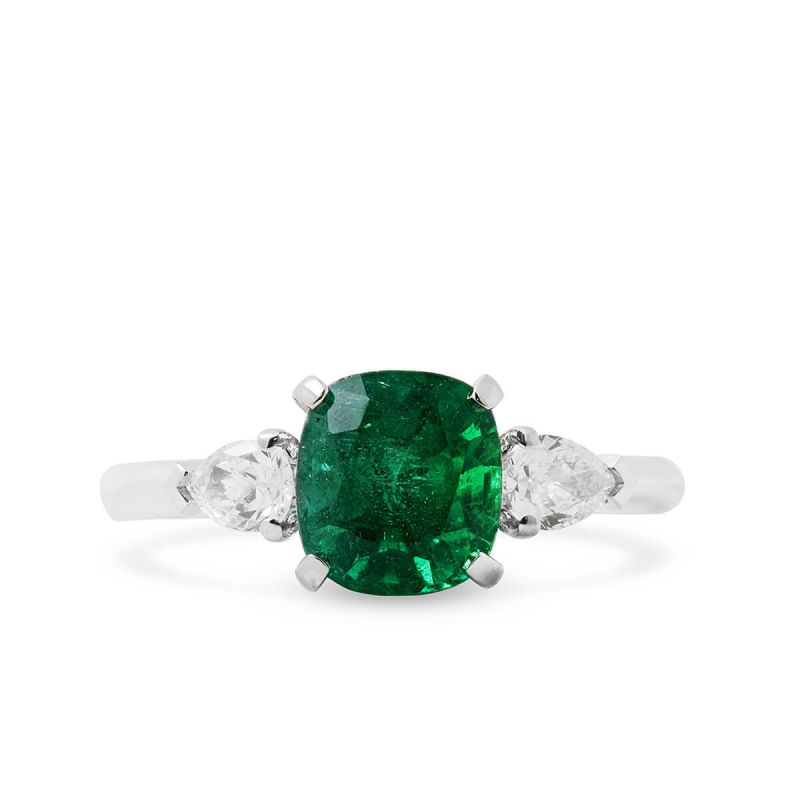 Natural Green Emerald Ring, 1.78 Ct. (2.13 Ct. TW), IGL Certified, J95108320IL, Unheated