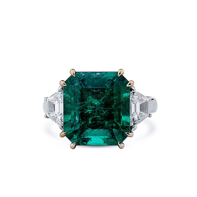 Natural Vivid Green Emerald Ring, 7.27 Ct. (8.00 Ct. TW), GRS Certified, GRS2019-029255, Unheated