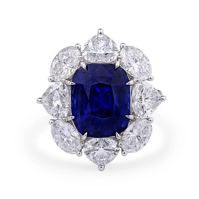 Natural Vivid Blue Sapphire Ring, 9.82 Ct. (14.99 Ct. TW), GRS Certified, GRS2019-038071, Unheated