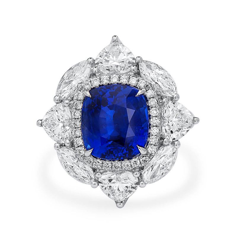 Natural Vivid Blue Sapphire Ring, 6.66 Ct. (10.53 Ct. TW), GRS Certified, JCRG05446646, Unheated