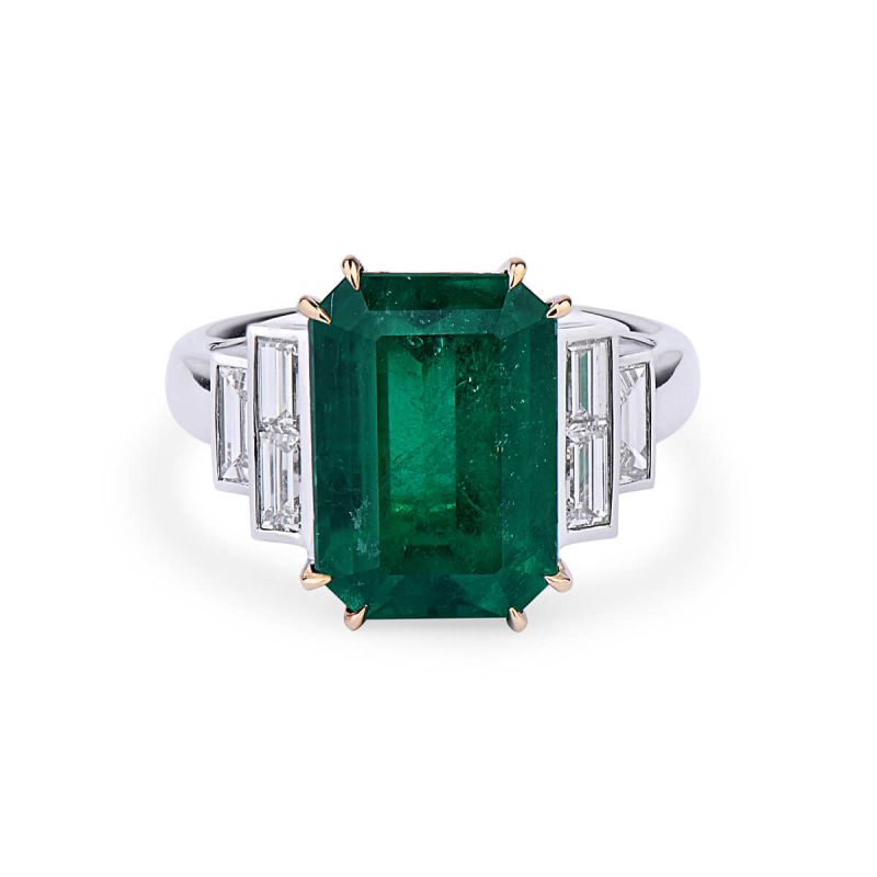 Natural Vivid Green Emerald Ring, 5.10 Ct. (5.84 Ct. TW), GRS Certified, 2016-053279, Unheated