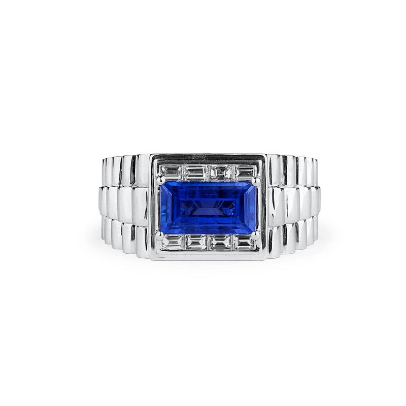 Natural Blue Sapphire Ring, 3.17 Ct. (3.94 Ct. TW), GRS Certified, 2014-106654, Unheated