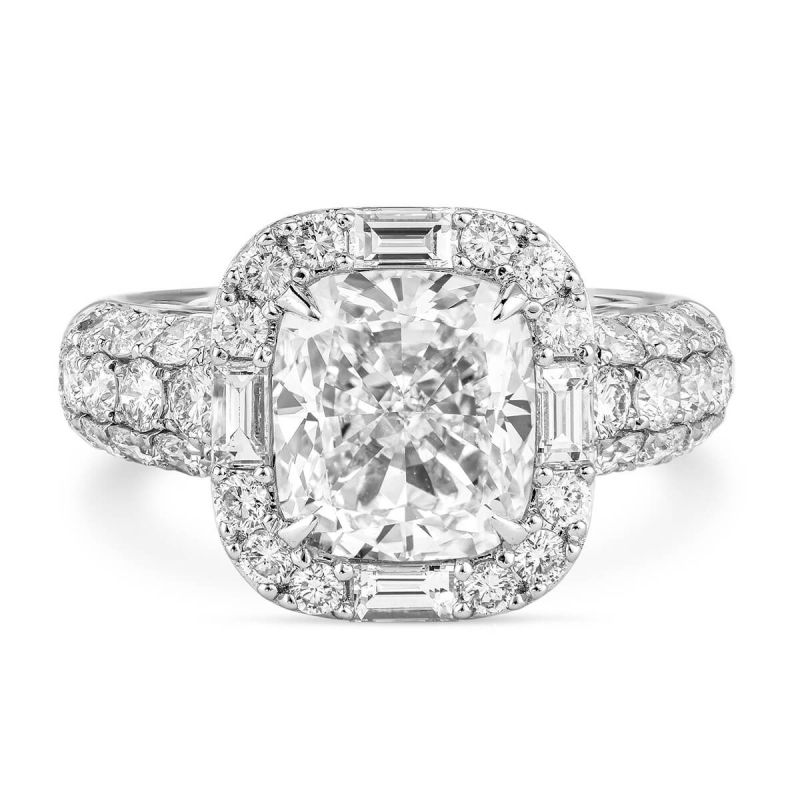 White Diamond Ring, 3.01 Ct. (4.44 Ct. TW), Cushion shape, GIA Certified, 1239156733