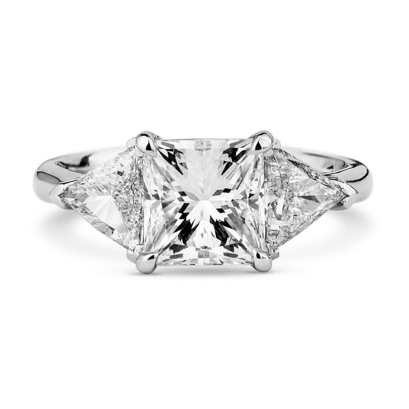 White Diamond Ring, 2.71 Ct. TW, Princess shape, GIA Certified, 6272602018