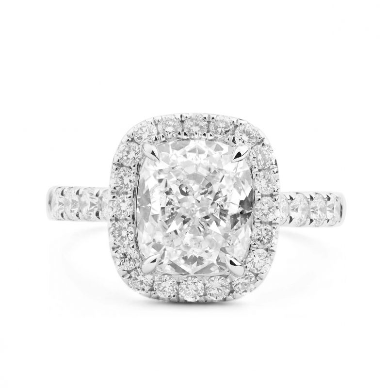 White Diamond Ring, 3.62 Ct. TW, Cushion shape, GIA Certified, 5182870648