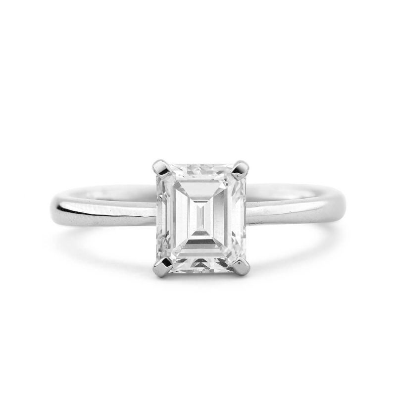 White Diamond Ring, 1.28 Ct. TW, Emerald shape, GIA Certified, 2264001710