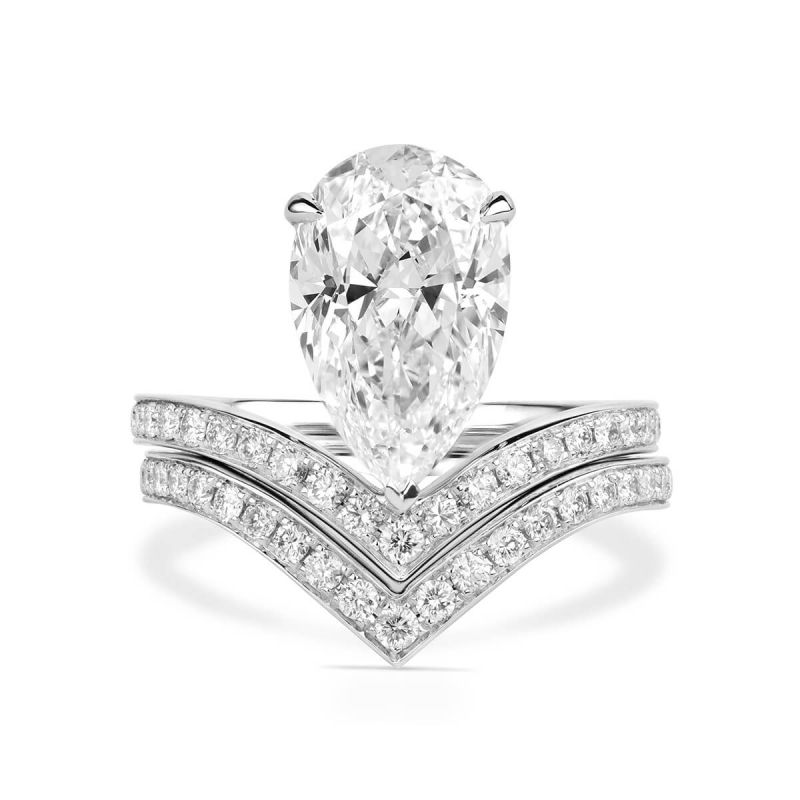 White Diamond Ring, 4.11 Ct. TW, Pear shape, GIA Certified, 6183072148