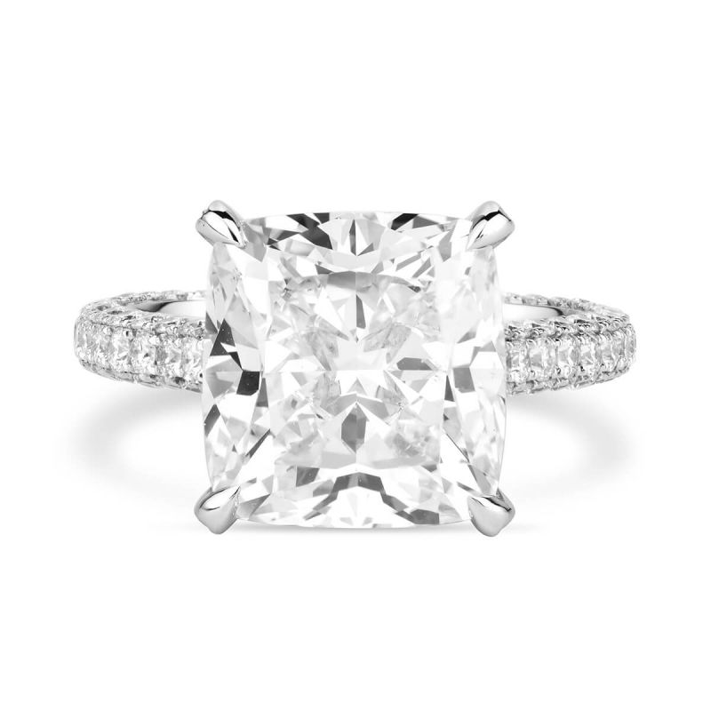 White Diamond Ring, 9.08 Ct. TW, Cushion shape, HRD Certified, 170003027659