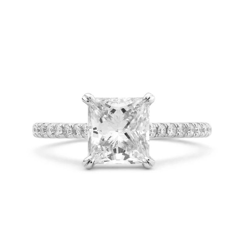 White Diamond Ring, 2.01 Ct. (2.23 Ct. TW), Princess shape, GIA Certified, 3175104031