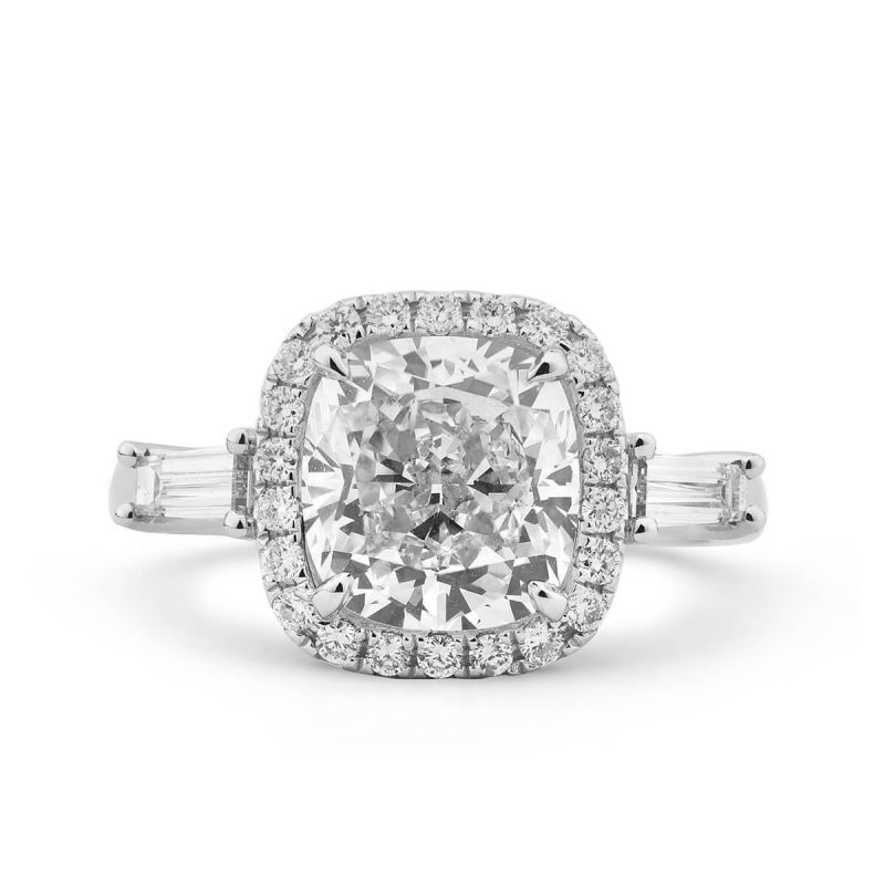 White Diamond Ring, 3.69 Ct. TW, Cushion shape, GIA Certified, 2161944240