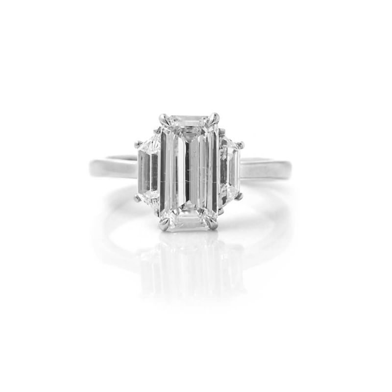 White Diamond Ring, 2.70 Ct. TW, Emerald shape, GIA Certified, 7288858343