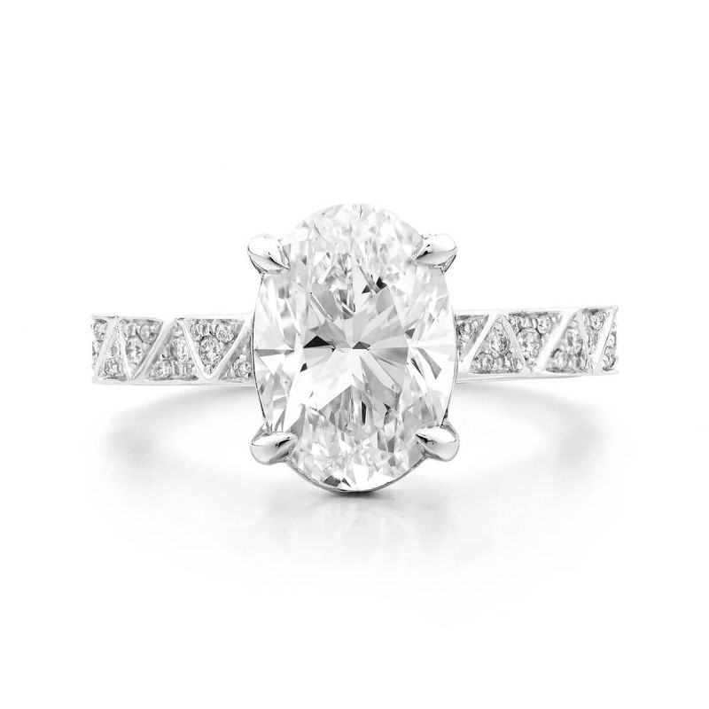 White Diamond Ring, 3.19 Ct. TW, Oval shape, GIA Certified, 6245708932