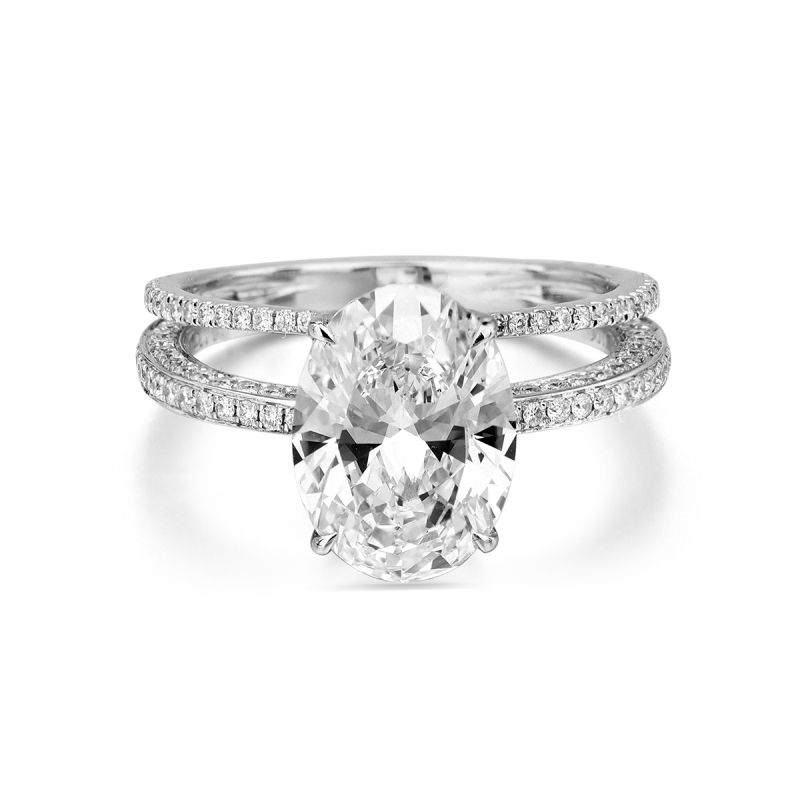 White Diamond Ring, 3.70 Ct. TW, Oval shape, GIA Certified, 2161054368