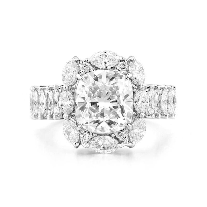 White Diamond Ring, 3.01 Ct. (4.77 Ct. TW), Cushion shape, GIA Certified, 6255057743
