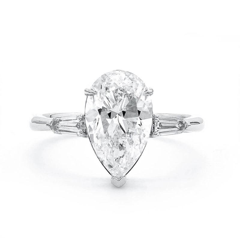 White Diamond Ring, 3.01 Ct. (3.28 Ct. TW), Pear shape, GIA Certified, 6137240673