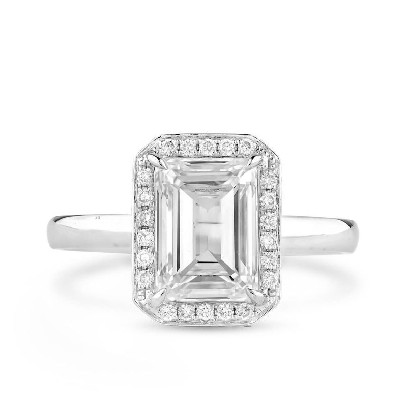 White Diamond Ring, 2.00 Ct. (2.18 Ct. TW), Emerald shape, GIA Certified, 6183663989