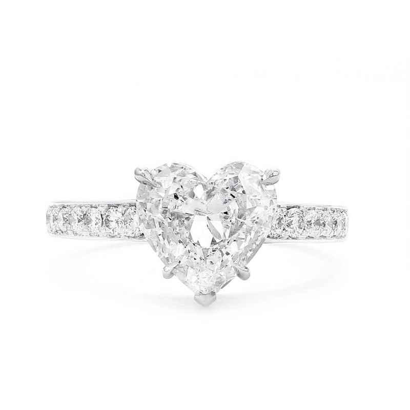White Diamond Ring, 2.02 Ct. (2.37 Ct. TW), Heart shape, GIA Certified, 1196710584