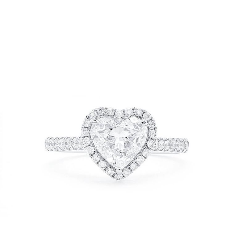 White Diamond Ring, 1.04 Ct. (1.40 Ct. TW), Heart shape, GIA Certified, 6282596378