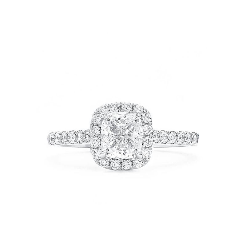 White Diamond Ring, 1.01 Ct. (1.40 Ct. TW), Cushion shape, GIA Certified, 2294758087