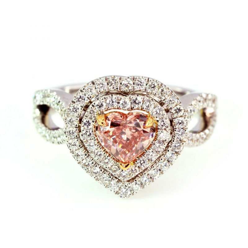 Fancy Orangy Pink Diamond Ring, 0.80 Ct. TW, Heart shape, GIA Certified, 2155569598