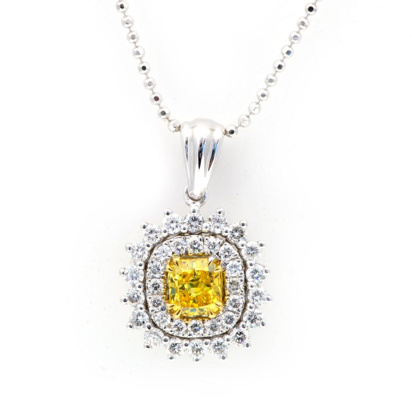 Fancy Vivid Yellow Diamond Necklace, 0.42 Carat, Radiant shape, GIA Certified, 5131614395