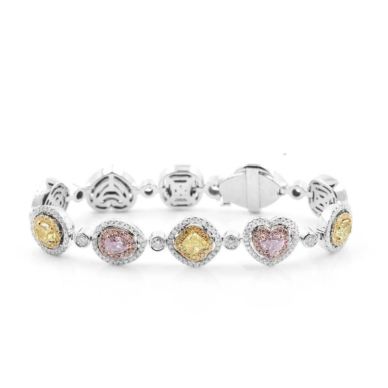 Yellow & Pink halo diamond bracelet, 5.47 Ct. TW, Mix shape, GIA Certified