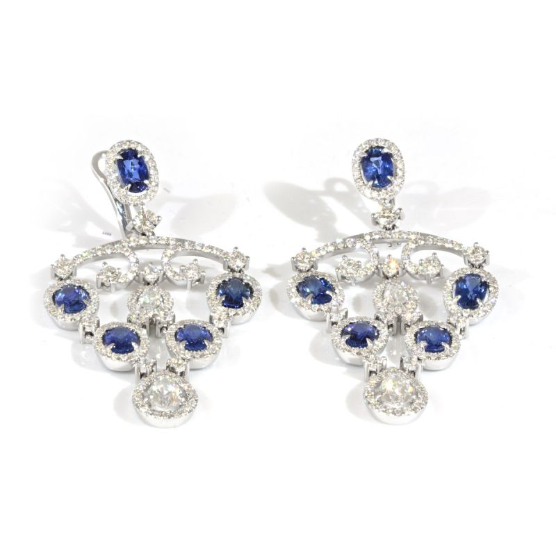 Natural Blue Sapphire Earrings, 7.11 Carat, IGL Certified, J84257443IL, Unheated