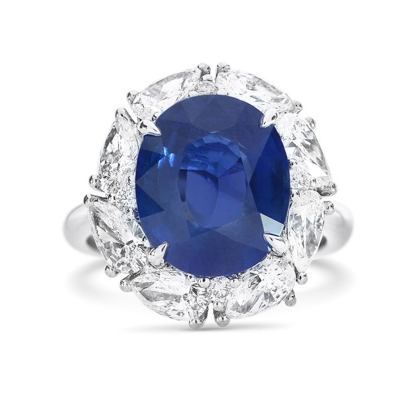 Natural Vivid Blue Burma Sapphire Ring, 6.67 Ct. TW, GRS Certified, GRS2017-022147, Unheated