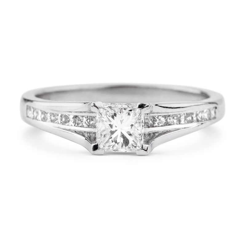 White Diamond Ring, 0.50 Ct. TW, Princess shape