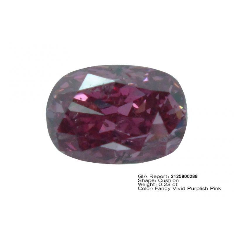 0.23 Carat, Fancy Vivid Purplish Pink Diamond, Cushion shape, GIA Certified, 2125900288