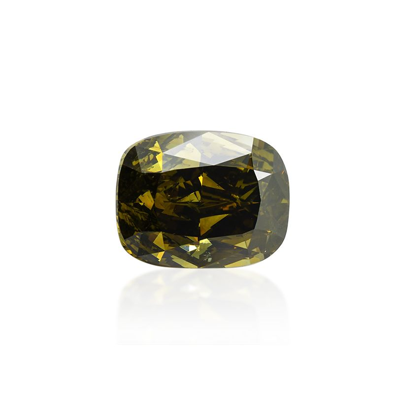 2.50 Carat, Fancy Dark Greenish Yellow Diamond, Cushion shape, I1 Clarity, GIA Certified, 2205201656