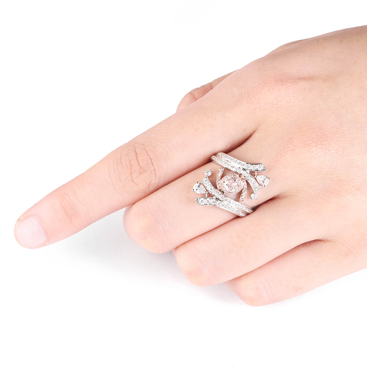 Light Pink Diamond Ring 0.25 Ct Set of Four Radiant Cut 18K White ...