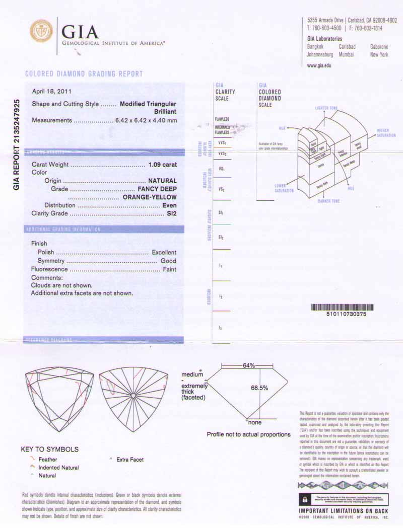 Triangle fancy deep orange diamond 109 carat si2 clarity gia view certificate xflitez Image collections