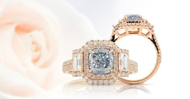 natural blue diamond engagement ring