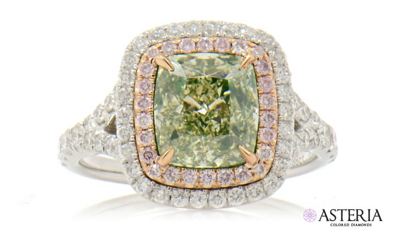 green diamond engagment ring