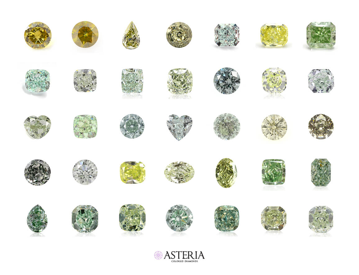 green diamonds secondary hues - yellowish yellow blueish blue grayish gray