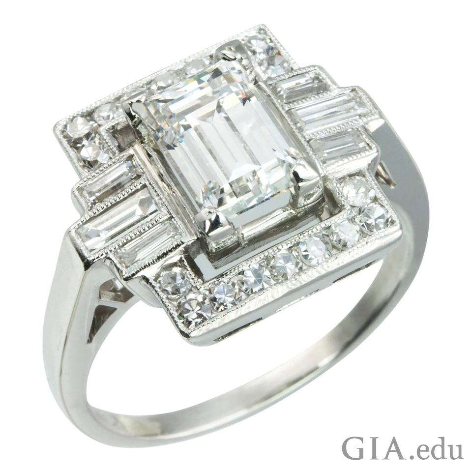 Here is an image that shows a ring using both the emerald cut and the baguette in a ring from the 1920's.