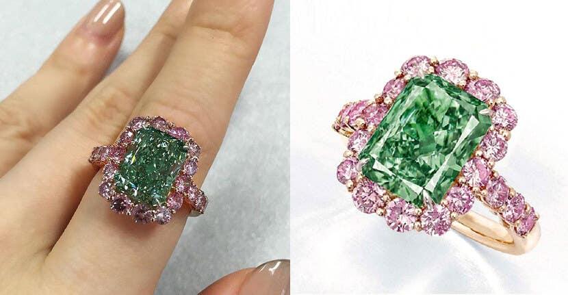 Aurora Green diamond - natural green diamond ring