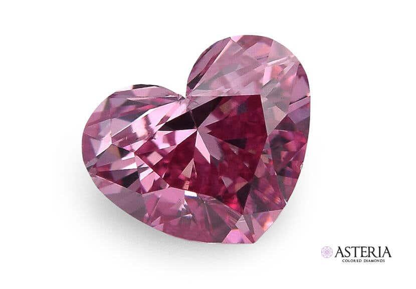loose natural pink diamond heart
