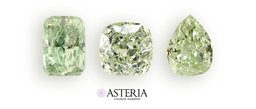 oval, cusion and radiant loose green diamonds