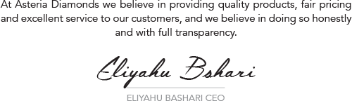 Image of a signature of Asteria Diamonds CEO Eliyahu Bashari